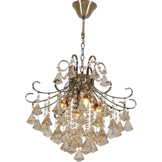 Lampa Wisząca kryształowa Elem Barcelona 6248/4 21QG mosiądz